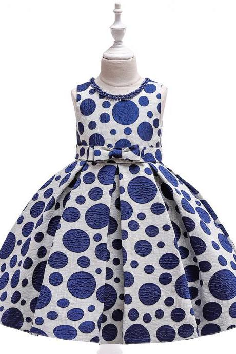 Polka Dot Flower Girl Dress Princess Formal Party Birthday Tutu Gown Kids Children Clothes navy blue