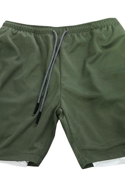 Men Sport Shorts Summer Quick Dry Double-Deck Bodybuilding Breathable Fitness Workout Casual Short Sweatpants army green