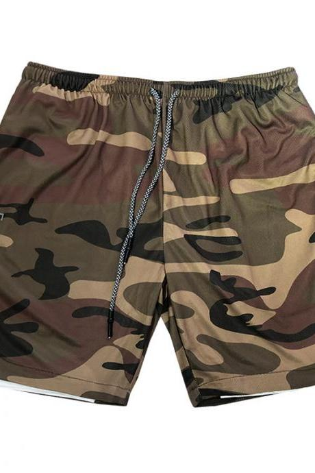 Men Sport Shorts Summer Quick Dry Double-Deck Bodybuilding Breathable Fitness Workout Casual Short Sweatpants Camouflage