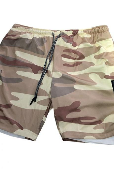 Men Sport Shorts Summer Quick Dry Double-Deck Bodybuilding Breathable Fitness Workout Casual Short Sweatpants yellow Camouflage