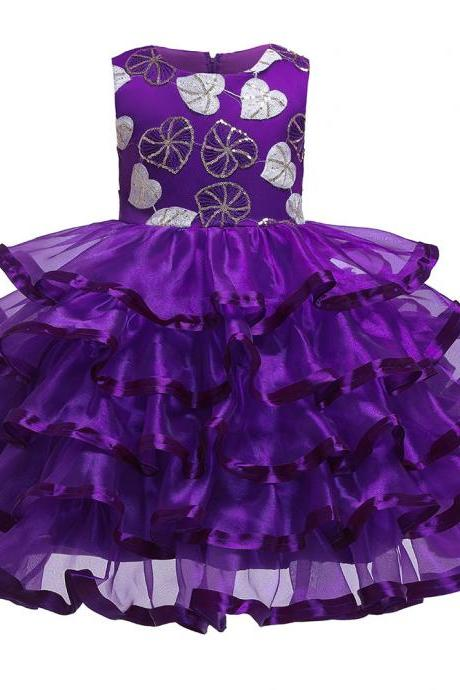 Princess Flower Girl Dress Layered Formal Birthday Party Tutu Gown Chidlren Kids Clothes purple