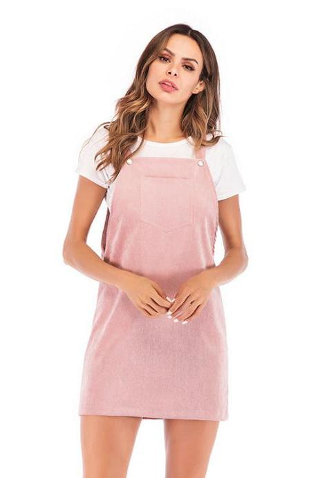 Women Casual Dress Corduroy Vest Overall Sleeveless Mini Suspender Dress pink