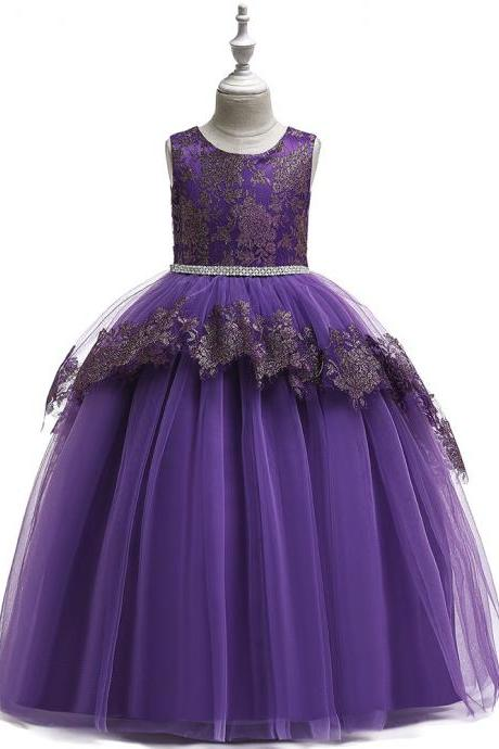 Long Lace Flower Girl Dress Teens Formal Birthday Bridesmaid Party Tutu Gown Chidlren Kids Clothes purple