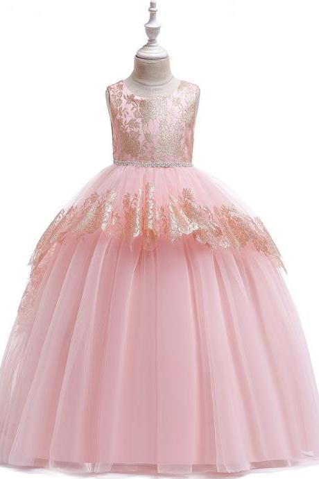 Long Lace Flower Girl Dress Teens Formal Birthday Bridesmaid Party Tutu Gown Chidlren Kids Clothes salmon