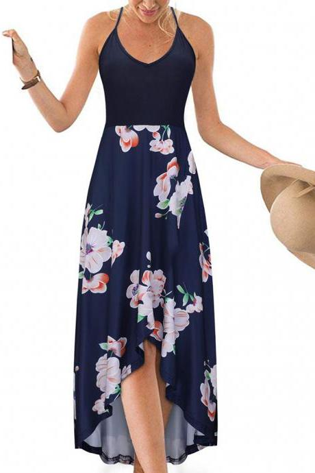 Women Floral Printed Maxi Dress V Neck Sleeveless Casual Summer Beach Boho Asymmetrical Dress 6#
