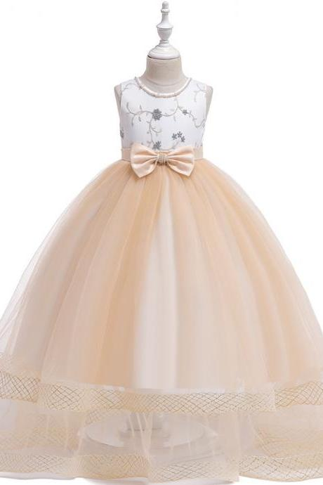 Embroidery Flower Girl Dress Teens Long Formal Birthday Party Bridesmaid Gown Kids Children Clothes champagne