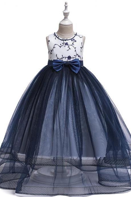 Embroidery Flower Girl Dress Teens Long Formal Birthday Party Bridesmaid Gown Kids Children Clothes navy blue