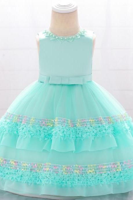 Newborn Flower Girl Dress Tutu Formal Birthday Party Baby Baptism Gown Kids Children Clothes aqua