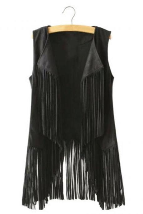Women Tassels Outwear Sleeveless Fringed Solid Color Vest Long Waistcoat black