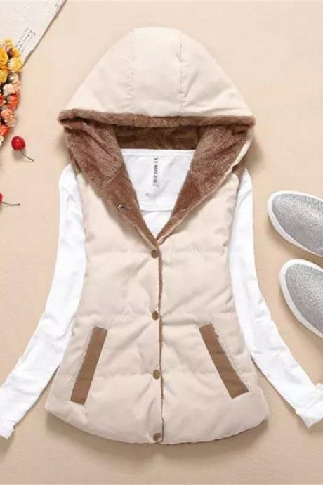Women Hooded WaistcoatLadies Sleeveless Winter Gilet Fleece Hoodies Coat Jacket beige