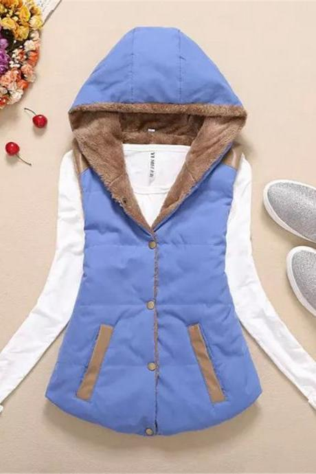 Women Hooded WaistcoatLadies Sleeveless Winter Gilet Fleece Hoodies Coat Jacke tblue