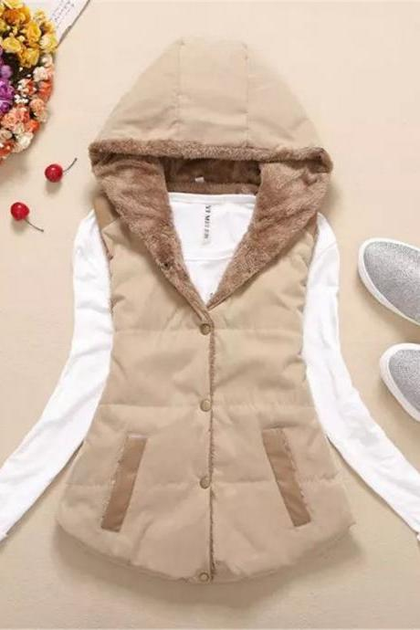 Women Hooded WaistcoatLadies Sleeveless Winter Gilet Fleece Hoodies Coat Jacket khkai