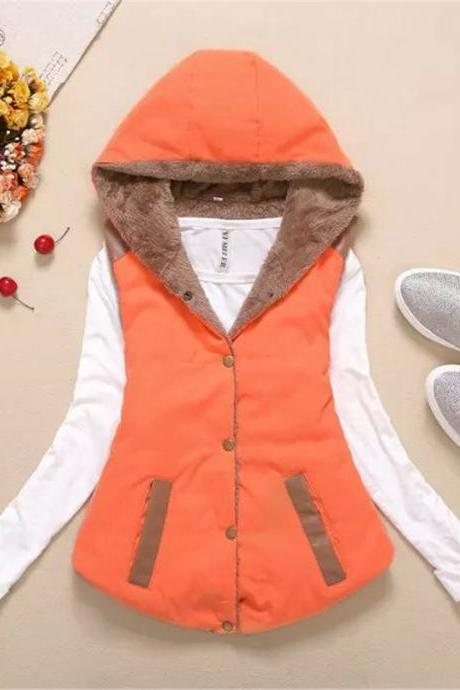 Women Hooded WaistcoatLadies Sleeveless Winter Gilet Fleece Hoodies Coat Jacket orange