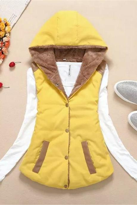 Women Hooded WaistcoatLadies Sleeveless Winter Gilet Fleece Hoodies Coat Jacket yellow