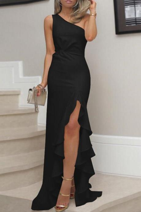 Womens Ruffled Long Dress Evening Cocktail Ladies Wedding Bridesmaid Party Gown black