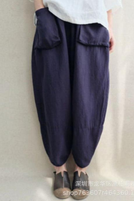 Women Oversize Harem Pants Loose Vintage Ethnic Plus Size Trousers Pants navy blue