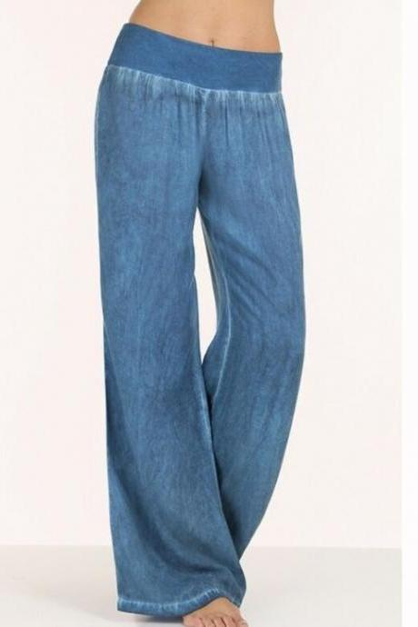 Women Casual High Waist Elasticity Denim Wide Leg Palazzo Pants Jeans Trousers blue