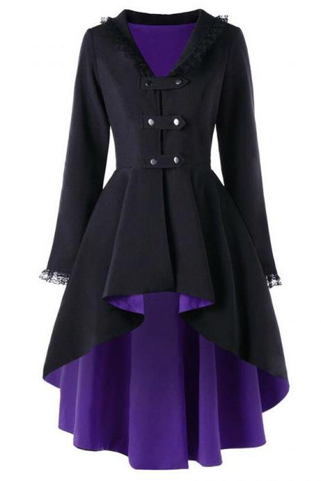 Vintage Victorian Women Lady Steampunk Swallow Tail Goth Long Trench Coat Jacket purple