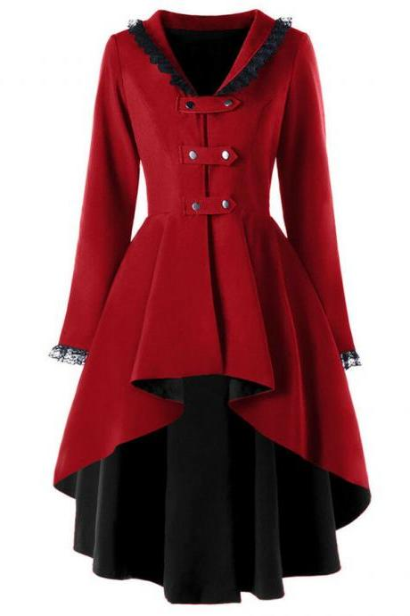 Vintage Victorian Women Lady Steampunk Swallow Tail Goth Long Trench Coat Jacket wine red