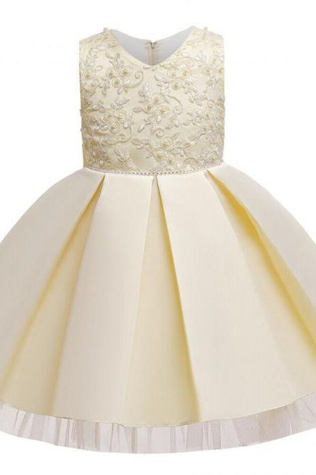 Cute Baby Kids Girl Princess Tulle Tutu Dress Wedding Birthday Party Bow Dresses champagne