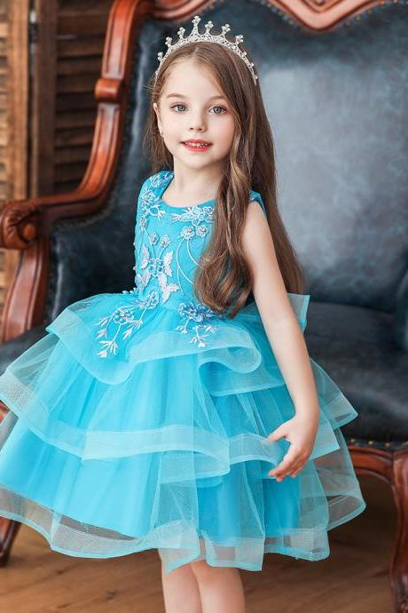 Baby Princess Tulle Tutu Dress Kids Girls Birthday Wedding Bridesmaid Dresses blue