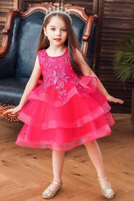 Baby Princess Tulle Tutu Dress Kids Girls Birthday Wedding Bridesmaid Dresses rose red