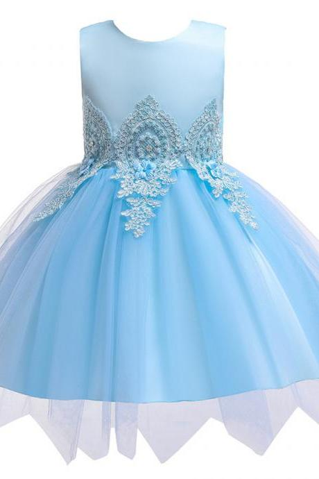 Flower Girl Pageant Wedding Bridesmaid Birthday Party Baby Kids Lace Tulle Dress light blue