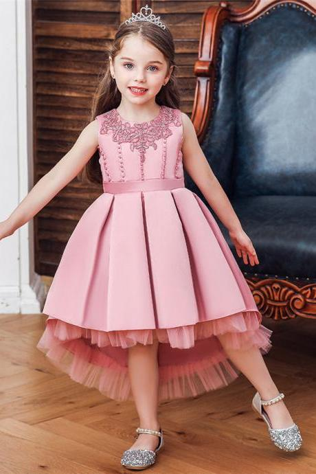 Baby Kids Flower Girls Princess Dress Party Wedding Bridesmaid Pageant Bead Gown bean powder