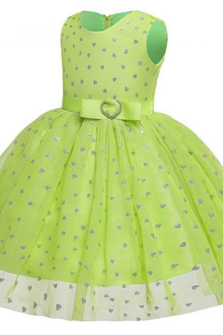 Cute Kids Girl Sleeveless Summer Lace Tulle Tutu Dress Wedding Pageant Gown 0-6Y green