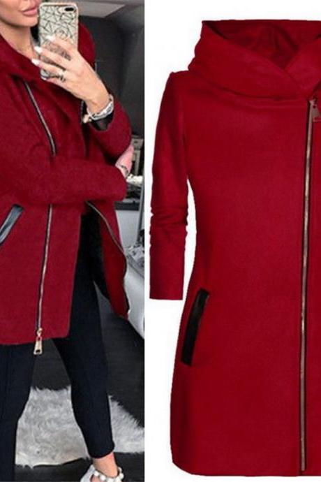 Womens Thick Warm Coat Hooded Jacket Winter Zipper Parka Outwear Overcoat red