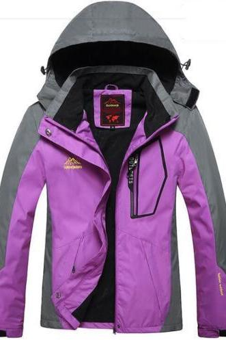 Women Winter Ski Snow Warm Outdoor Sports Jacket Coat Thicken Outwear Coat purple