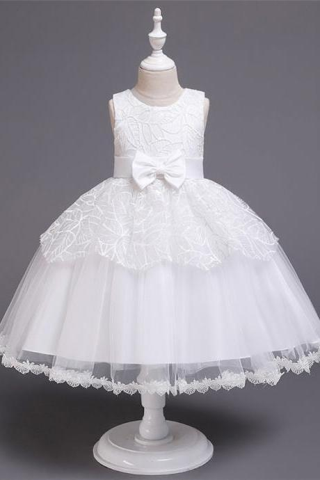 New Beads Girls Kid Laces Princess Dresses Party Formal Layer Dresses 1-6Y white
