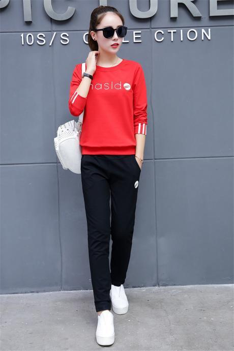 New women's Tracksuit casual fashion sports suitLong Sleeve Top+Pants Casual Two Pieces Set Outfits red