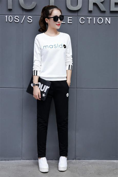 New women's Tracksuit casual fashion sports suitLong Sleeve Top+Pants Casual Two Pieces Set Outfits white