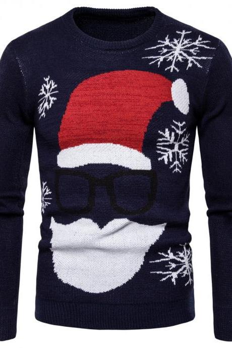 New Fashion Clothing Santa Claus Shirt Printing Knitted Bottoming Mens Sweaters navy blue