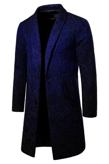New Fashion Autumn Winter Men's Clothing Medium Long Style Men's Trench Coat navy blue