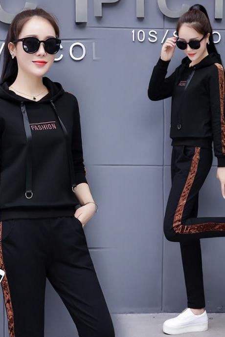New embroidery fashion casual sports suit women's two-piece dress black
