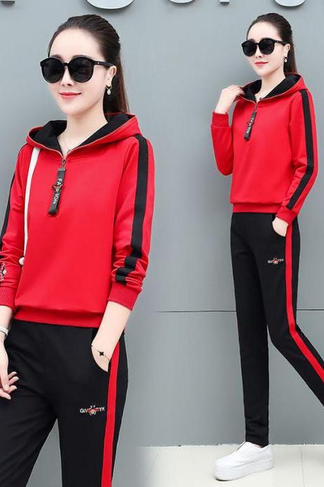 women's wear New Tracksuit casual fashion sportswear hoodie trousers two piece sets red