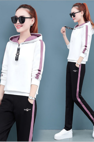 women's wear New Tracksuit casual fashion sportswear hoodie trousers two piece sets white
