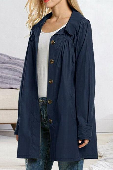 Women's Lightweight Open Front Raincoat Button Outdoor Casual Waterproof Jacket navy blue