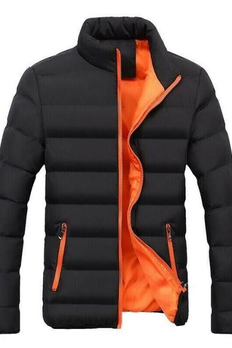 Men Winter Bubble Slim Fit Puffer Quilted Cotton Jacket Stand Collar Coat