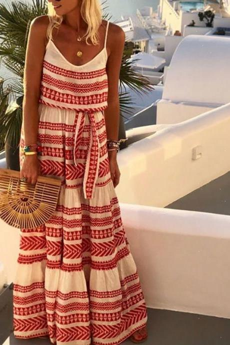 Large size women's bohemian deep V-neck printed sling beach dress