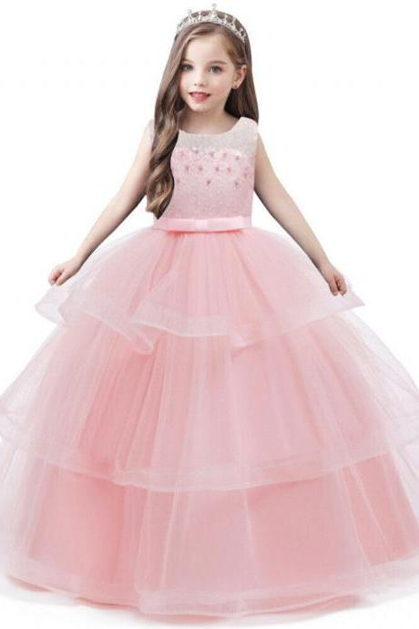 Kids Flower Girls Princess Bridesmaid Tulle Dress Pageant Communion Wedding Gown