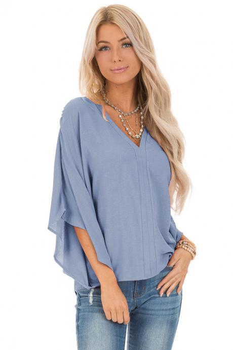 Spring Autumn Solid color women's blouse loose V-neck bat sleeve T-shirt tops