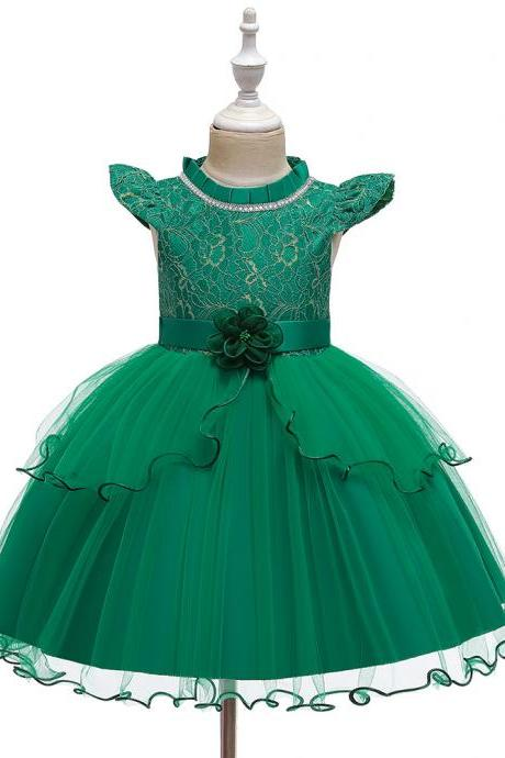 New girls dress sleeveless puffy Princess Halloween embroidery evening kids lace flower girls dress