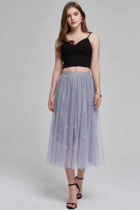 women Summer new sequin skirt star mesh a word pettiskirt midi skirt