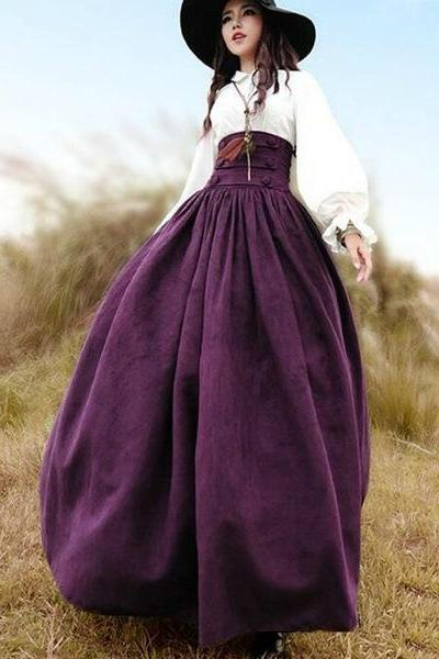 Women's solid skirt high waist pleated retro Renaissance large swing maxi skirt