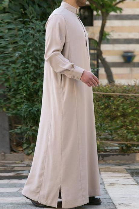 Men Robes Kaftan Muslim Cotton Thobe Arab Islamic Sleeve Solid Loungewear Plus Size Arabia Man abaya