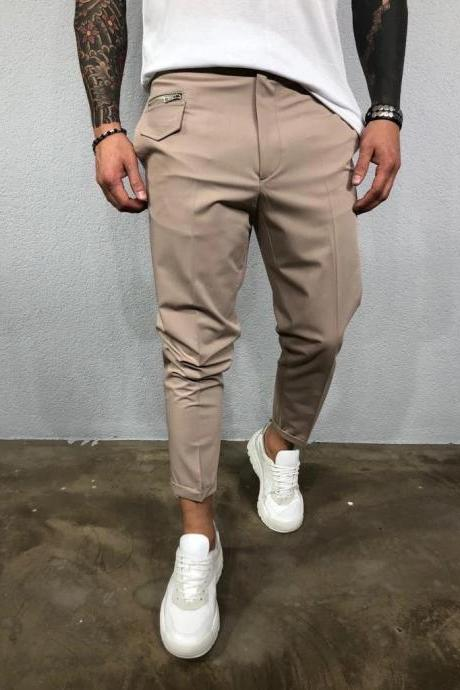Men solid basic casual pants trousers mouth zipper decorative wild pants