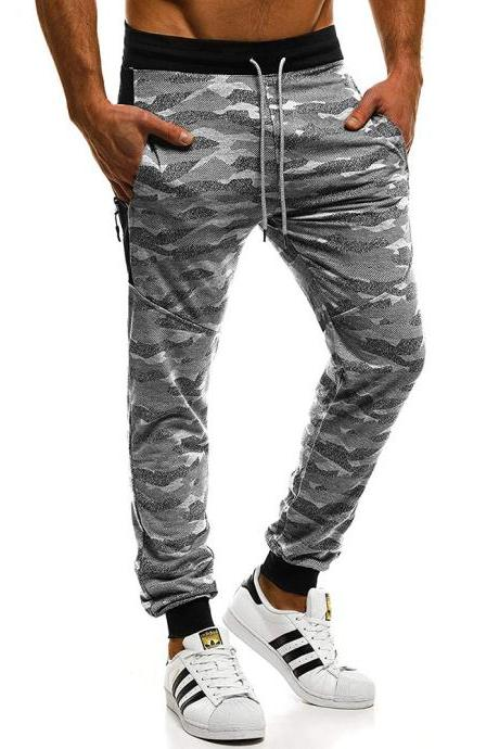 Men casual autumn winter trousers trend camouflage stitching sports fitness running loose beam feet trousers